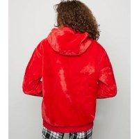 Red Faux Fur Zip Front Hoodie New Look