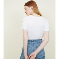 White Tassel Earring Trim Face Print T-Shirt New Look