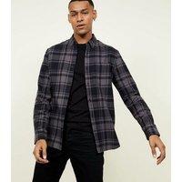 Dark Grey Check Cotton Long Sleeve Shirt New Look