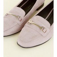 Wide Fit Lilac Matte Suedette Panelled Loafers New Look