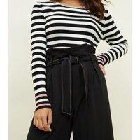 Petite Black Contrast Stitch Paperbag Culottes New Look