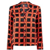 Red Grid Check Satin Button Front Shirt New Look