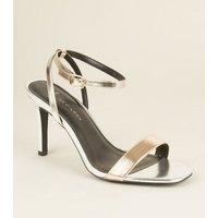 Wide Fit Silver and Gold Metallic Stiletto Sandals New Look
