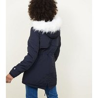 Tall Navy Faux Fur Trim Hooded Parka New Look