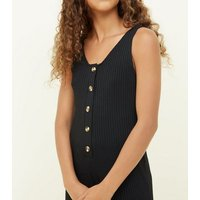 Girls Black Button Front Ribbed Jumpsuit New Look