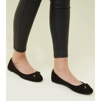 Wide Fit Black Metal Bow Front Ballet Pumps New Look