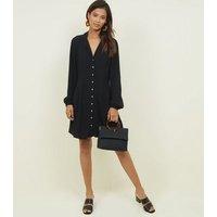 Black Revere Collar Button Front Tea Dress New Look