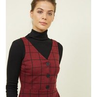 Burgundy Grid Check Button Through Pinafore Dress New Look
