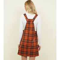 Orange Woven Check Pinafore Dress New Look