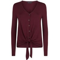 Burgundy V Neck Button Tie Front Top New Look