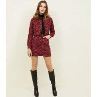 Burgundy Snake Print Denim Skirt New Look
