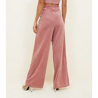 Pink Ribbed Velvet Wide Leg Party Trousers New Look