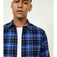 Bright Blue Long Sleeve Check Cotton Shirt New Look