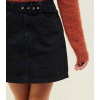 Girls Black Belted Denim Mini Skirt New Look