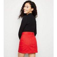 Girls Red Belted Denim Mini Skirt New Look