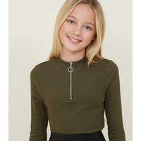Girls Khaki Ribbed Half Zip Long Sleeve Top New Look