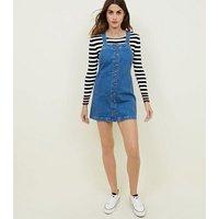 Blue Button Front Denim Pinafore Dress New Look