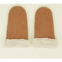 Tan Faux Shearling Mittens New Look