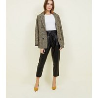 Black Leather-Look Tie Waist Tapered Trousers New Look