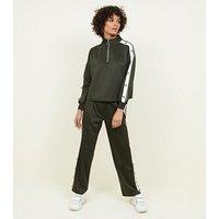 Khaki Popper Stripe Sleeve Sweatshirt New Look