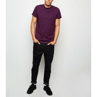 Purple Rolled Sleeve T-Shirt New Look