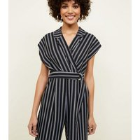 Black Stripe Revere Collar Belted Jumpsuit New Look