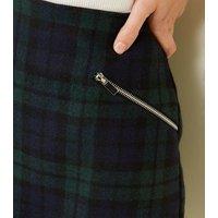 Dark Green Brushed Check Mini Skirt New Look