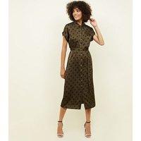 Green Spot Print Satin Midi Shirt Dress New Look