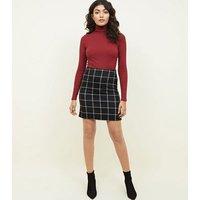 Black Grid Check Mini Skirt New Look