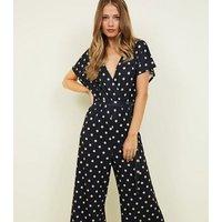 Tall Black Spot Print Belted Wrap Jumpsuit New Look