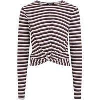 Girls Black Stripe Twist Front Long Sleeve T-Shirt New Look