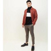 Men's Dark Grey Houndstooth Slim Fit Trousers New Look