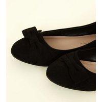 Girls Black Suedette Bow Ballet Pumps New Look