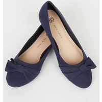 Girls Navy Suedette Bow Ballet Pumps New Look
