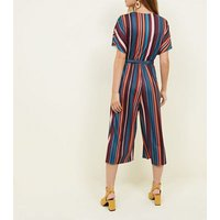 Petite Blue Stripe Ribbed Wrap Front Jumpsuit New Look