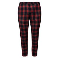 Mens Red Tartan Check Skinny Cropped Trousers New Look