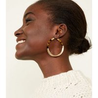 Brown Tortoiseshell Resin and Gold Hoop Earrings New Look