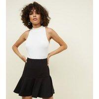 Cameo Rose Black Frill Hem Mini Skirt New Look