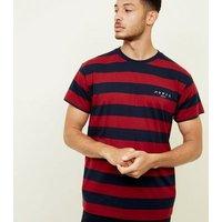 Dark Red Stripe Slogan Embroidered T-Shirt New Look