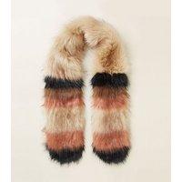 Brown Faux Fur Stripe Stole New Look