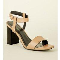 Light Brown Leather-Look Block Heel Sandals New Look