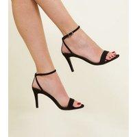 Black Suedette Strappy Stiletto Heeled Sandals New Look