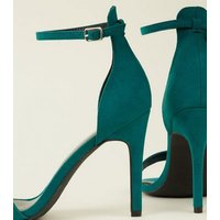 Green Suedette Strappy Stiletto Heels New Look
