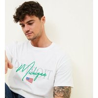 Mens White Michigan Detroit Slogan T-Shirt New Look