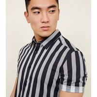 Navy Muscle Fit Stripe Printed Shirt New Look