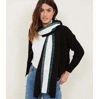 Black Metallic Stripe Longline Rib Scarf New Look