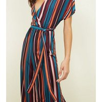 Multi Coloured Stripe Ribbed Wrap Front Jumpsuit New Look