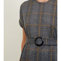 Grey Fine Knit Check Belted Tunic Top New Look