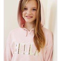 Girls Pink Ciao Bella Sequin Slogan Hoodie New Look