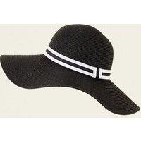 White Stripe Band Floppy Hat New Look